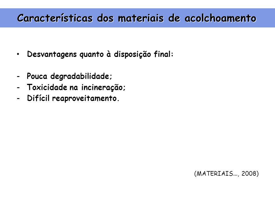 Características dos materiais de acolchoamento Desvantagens quanto à disposição final: -Pouca degradabilidade; -Toxicidade na incineração; -Difícil reaproveitamento.