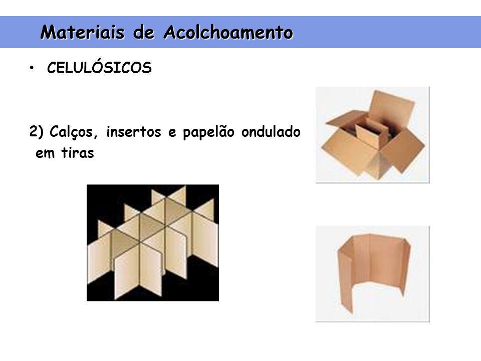 CELULÓSICOS 2) Calços, insertos e papelão ondulado em tiras Materiais de Acolchoamento