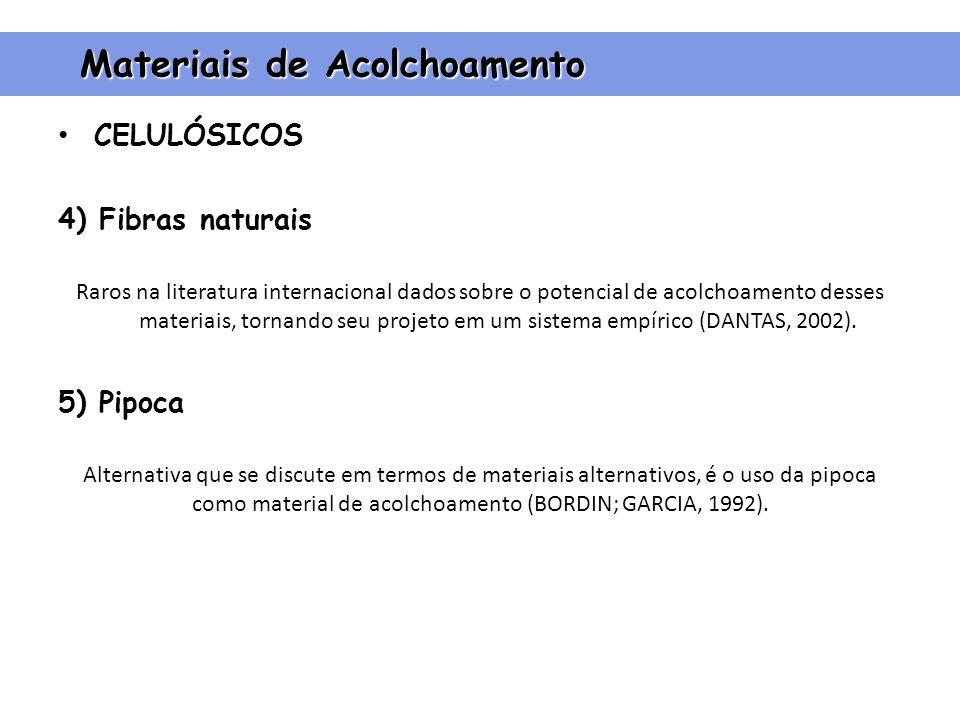 CELULÓSICOS 4) Fibras naturais Raros na literatura internacional dados sobre o potencial de acolchoamento desses materiais, tornando seu projeto em um sistema empírico (DANTAS, 2002).