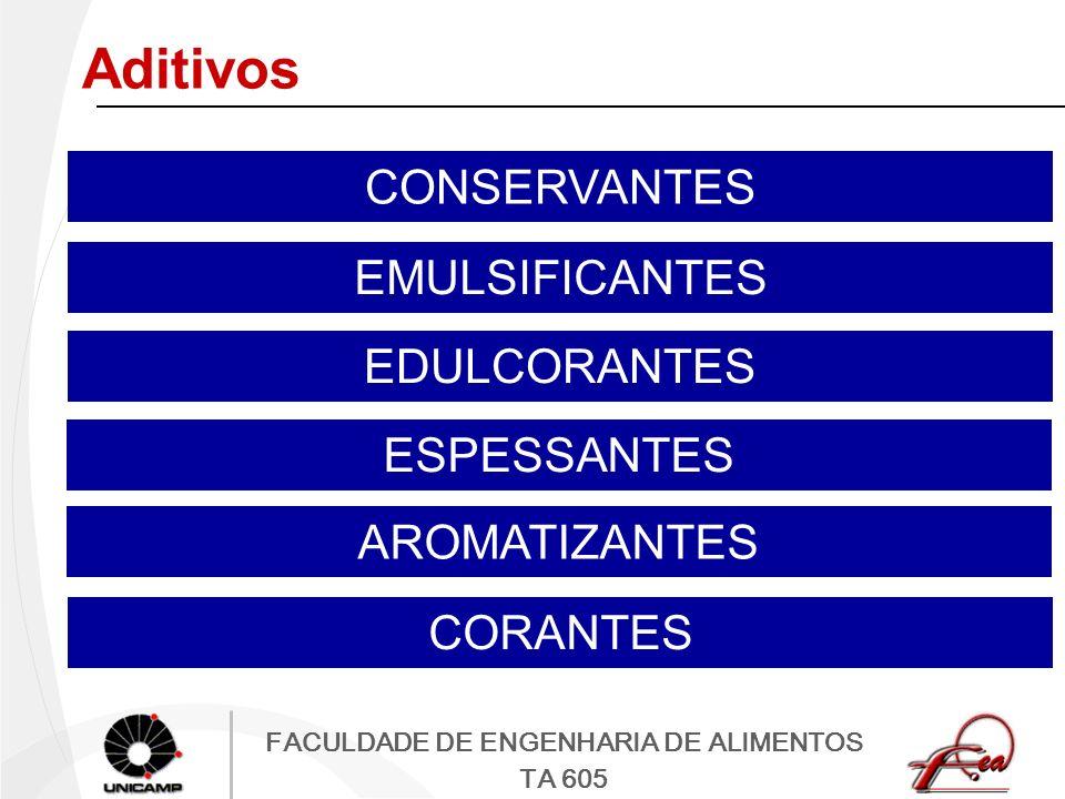 FACULDADE DE ENGENHARIA DE ALIMENTOS TA 605 Aditivos CONSERVANTES EMULSIFICANTES EDULCORANTES ESPESSANTES AROMATIZANTES CORANTES