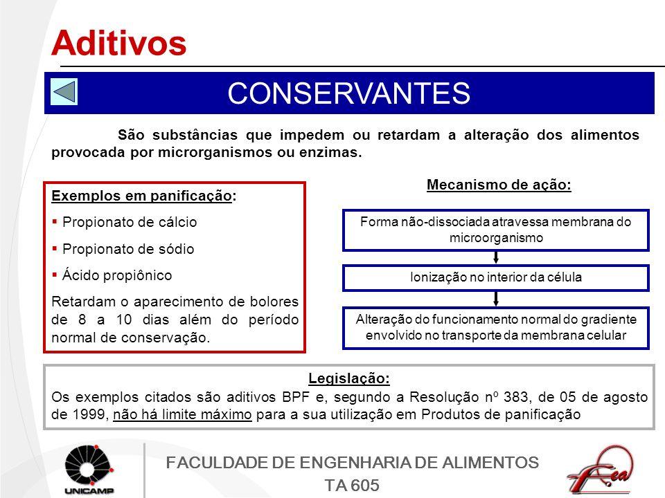 FACULDADE DE ENGENHARIA DE ALIMENTOS TA 605 Aditivos CONSERVANTES São substâncias que impedem ou retardam a alteração dos alimentos provocada por micr
