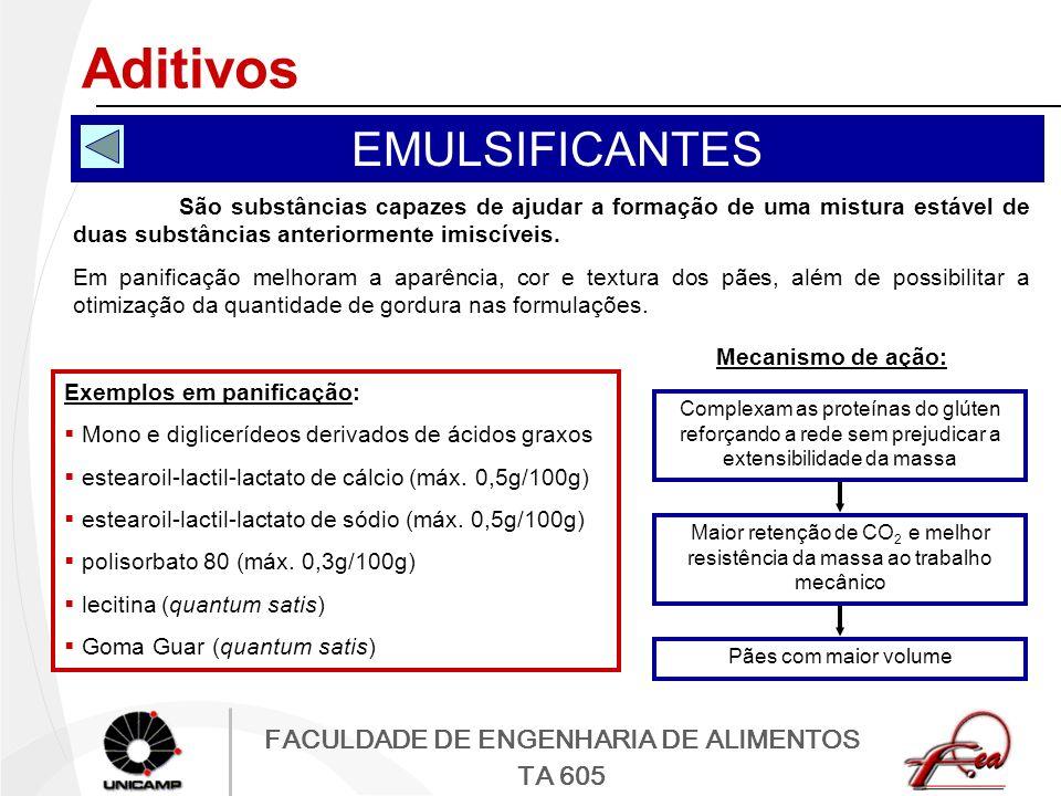 FACULDADE DE ENGENHARIA DE ALIMENTOS TA 605 Aditivos EMULSIFICANTES São substâncias capazes de ajudar a formação de uma mistura estável de duas substâ