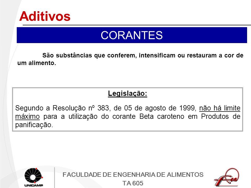 FACULDADE DE ENGENHARIA DE ALIMENTOS TA 605 Aditivos CORANTES São substâncias que conferem, intensificam ou restauram a cor de um alimento. Legislação