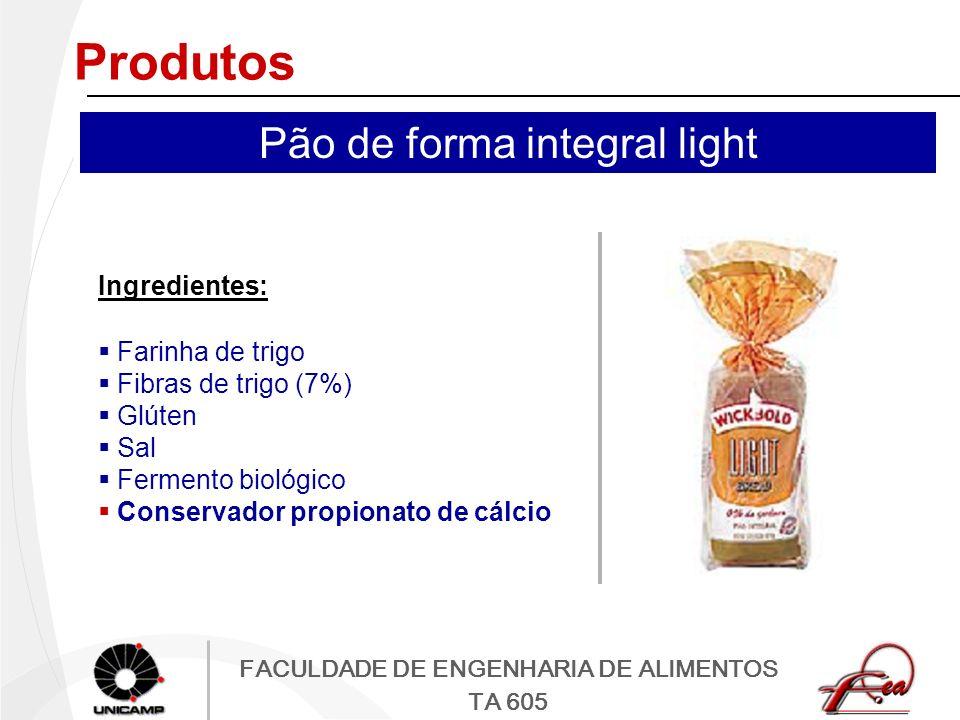 FACULDADE DE ENGENHARIA DE ALIMENTOS TA 605 Produtos Ingredientes: Farinha de trigo Fibras de trigo (7%) Glúten Sal Fermento biológico Conservador pro