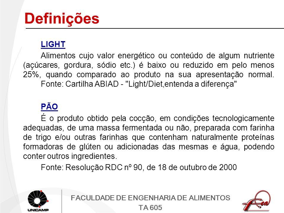 FACULDADE DE ENGENHARIA DE ALIMENTOS TA 605 Definições LIGHT Alimentos cujo valor energético ou conteúdo de algum nutriente (açúcares, gordura, sódio