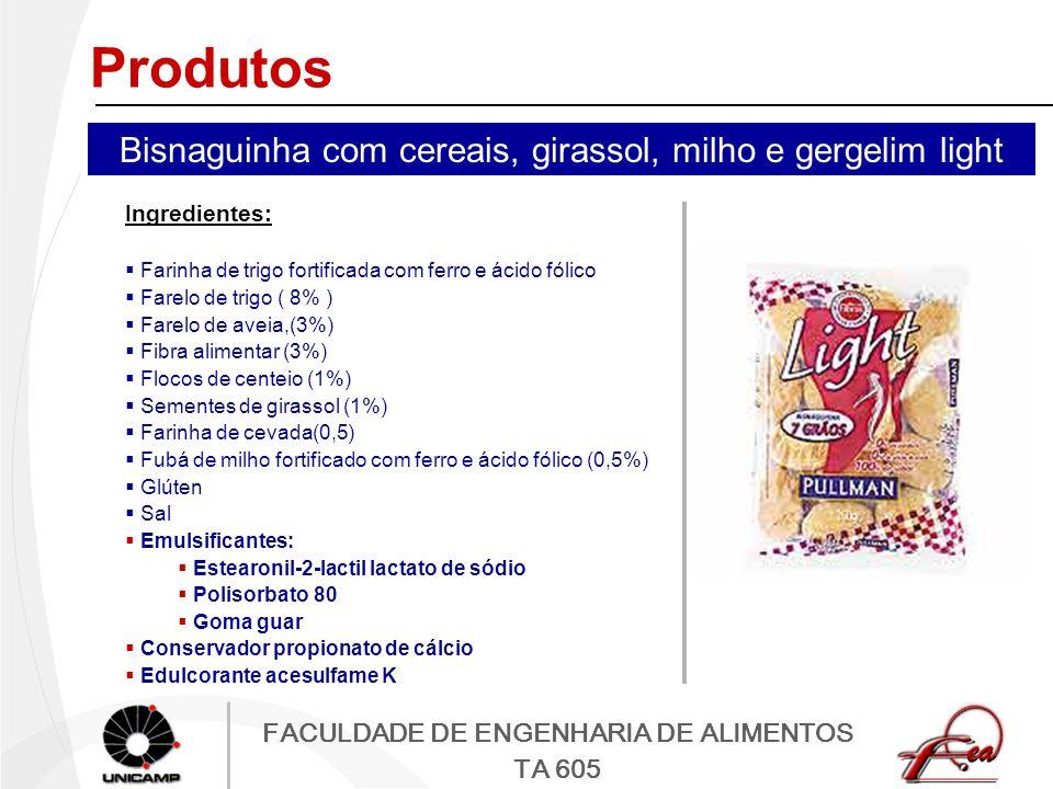 FACULDADE DE ENGENHARIA DE ALIMENTOS TA 605 Produtos Ingredientes: Farinha de trigo fortificada com ferro e ácido fólico Farelo de trigo ( 8% ) Farelo