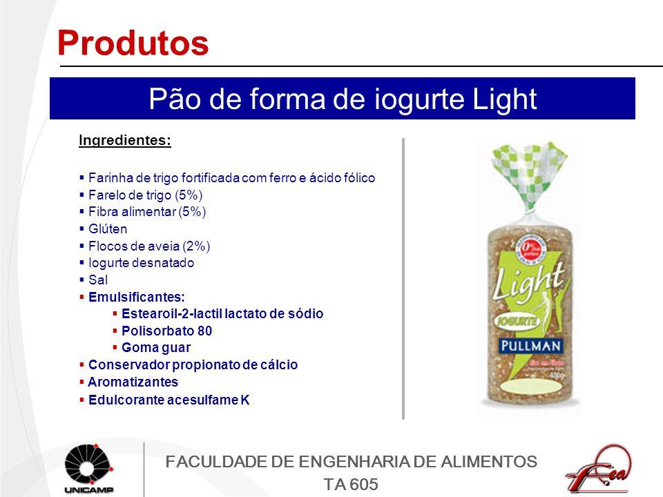 FACULDADE DE ENGENHARIA DE ALIMENTOS TA 605 Produtos Ingredientes: Farinha de trigo fortificada com ferro e ácido fólico Farelo de trigo (5%) Fibra al