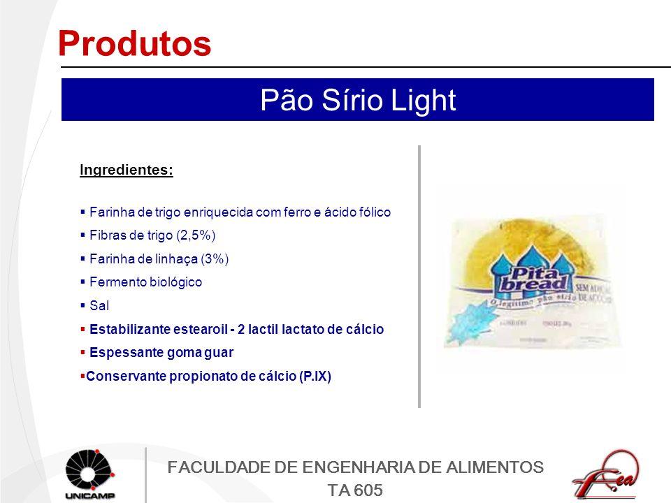 FACULDADE DE ENGENHARIA DE ALIMENTOS TA 605 Produtos Ingredientes: Farinha de trigo enriquecida com ferro e ácido fólico Fibras de trigo (2,5%) Farinh