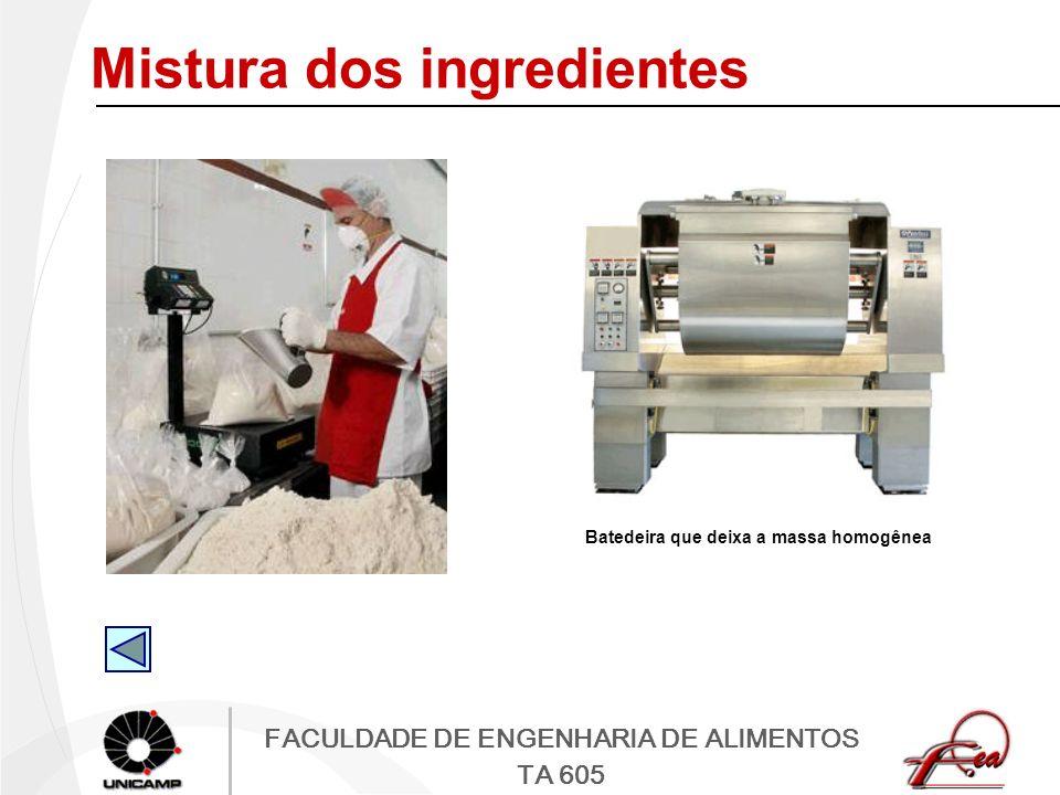 FACULDADE DE ENGENHARIA DE ALIMENTOS TA 605 Mistura dos ingredientes Batedeira que deixa a massa homogênea