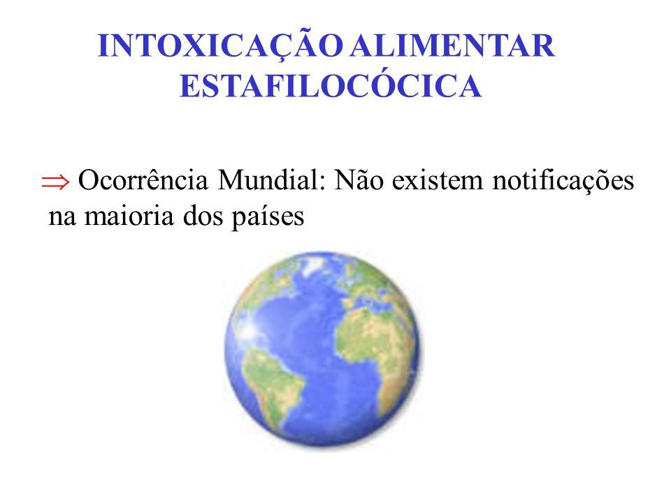 INTOXICAÇÃO ALIMENTAR ESTAFILOCÓCICA Ocorrência Mundial: Não existem notificações na maioria dos países