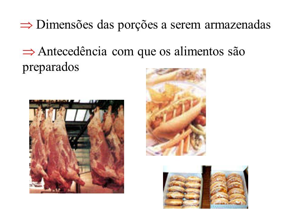 Dimensões das porções a serem armazenadas Antecedência com que os alimentos são preparados