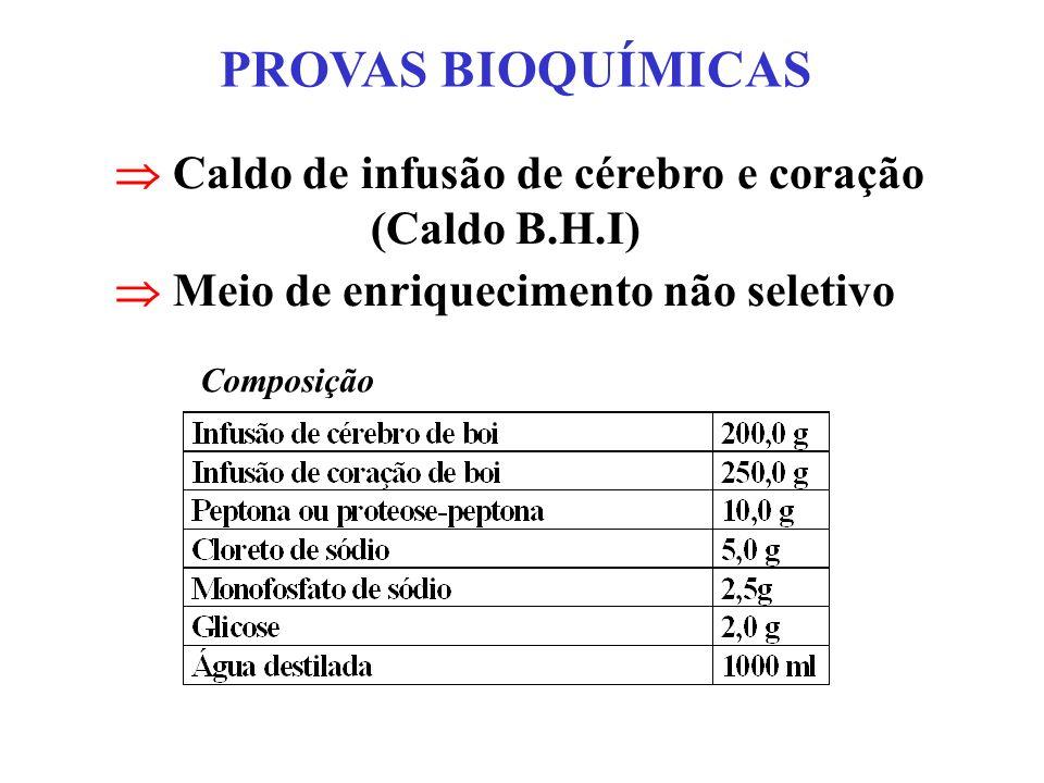 PROVAS BIOQUÍMICAS Caldo de infusão de cérebro e coração (Caldo B.H.I) Meio de enriquecimento não seletivo Composição
