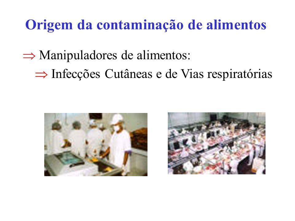 Origem da contaminação de alimentos Manipuladores de alimentos: Infecções Cutâneas e de Vias respiratórias