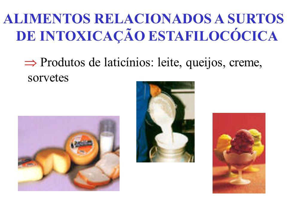 ALIMENTOS RELACIONADOS A SURTOS DE INTOXICAÇÃO ESTAFILOCÓCICA Produtos de laticínios: leite, queijos, creme, sorvetes