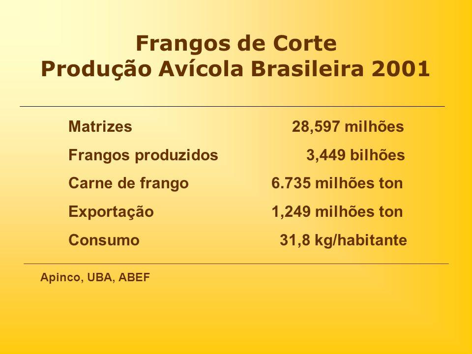 Frangos de Corte Produção Avícola Brasileira 2001 Matrizes 28,597 milhões Frangos produzidos 3,449 bilhões Carne de frango 6.735 milhões ton Exportaçã