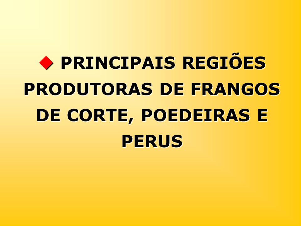 PRINCIPAIS REGIÕES PRODUTORAS DE FRANGOS DE CORTE, POEDEIRAS E PERUS PRINCIPAIS REGIÕES PRODUTORAS DE FRANGOS DE CORTE, POEDEIRAS E PERUS