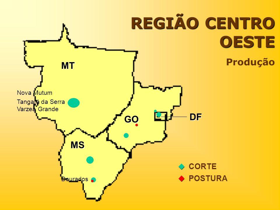 REGIÃO CENTRO OESTE Produção DF CORTE POSTURA MT MS GO Nova Mutum Tangará da Serra Varzea Grande Dourados