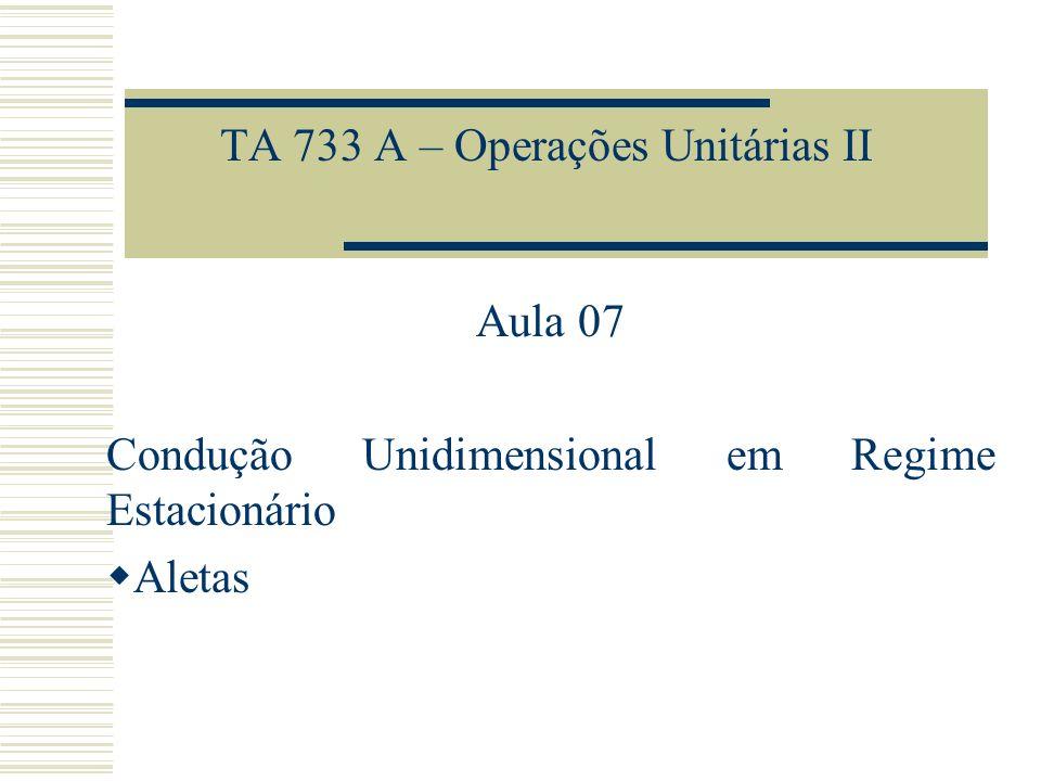 TA 733 A – Operações Unitárias II Aula 07 Condução Unidimensional em Regime Estacionário Aletas