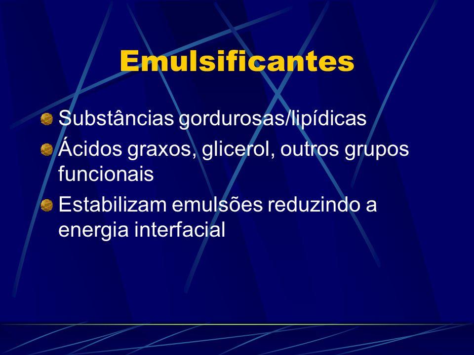 Emulsificantes Substâncias gordurosas/lipídicas Ácidos graxos, glicerol, outros grupos funcionais Estabilizam emulsões reduzindo a energia interfacial