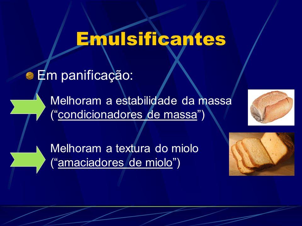 Emulsificantes Em panificação: Melhoram a estabilidade da massa (condicionadores de massa) Melhoram a textura do miolo (amaciadores de miolo)
