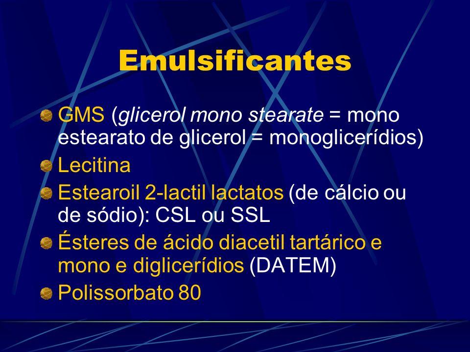 Emulsificantes GMS (glicerol mono stearate = mono estearato de glicerol = monoglicerídios) Lecitina Estearoil 2-lactil lactatos (de cálcio ou de sódio