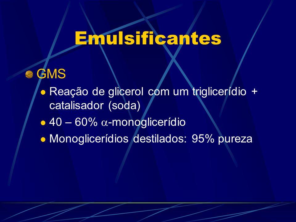 Emulsificantes GMS Reação de glicerol com um triglicerídio + catalisador (soda) 40 – 60% -monoglicerídio Monoglicerídios destilados: 95% pureza