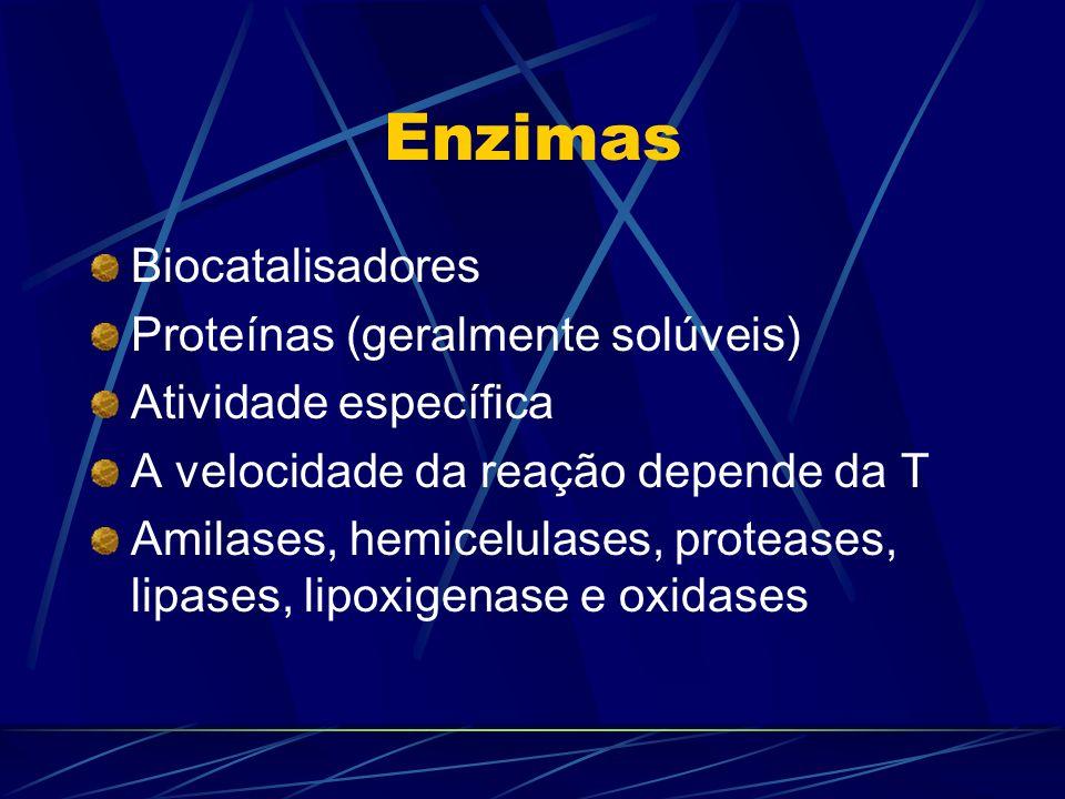 Enzimas Biocatalisadores Proteínas (geralmente solúveis) Atividade específica A velocidade da reação depende da T Amilases, hemicelulases, proteases,