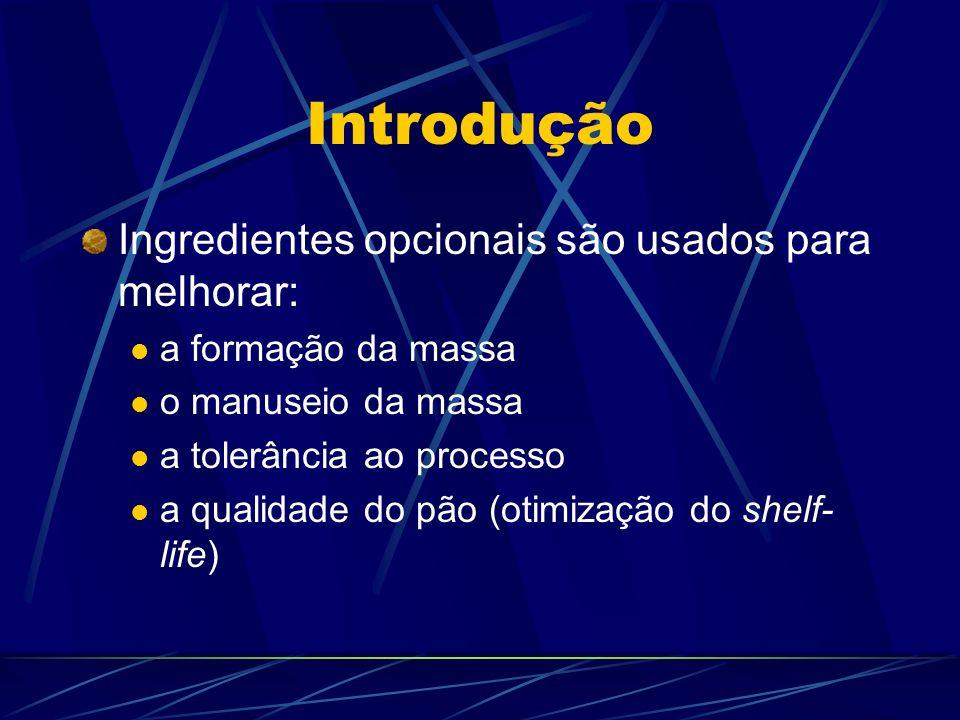 Introdução Ingredientes opcionais são usados para melhorar: a formação da massa o manuseio da massa a tolerância ao processo a qualidade do pão (otimi