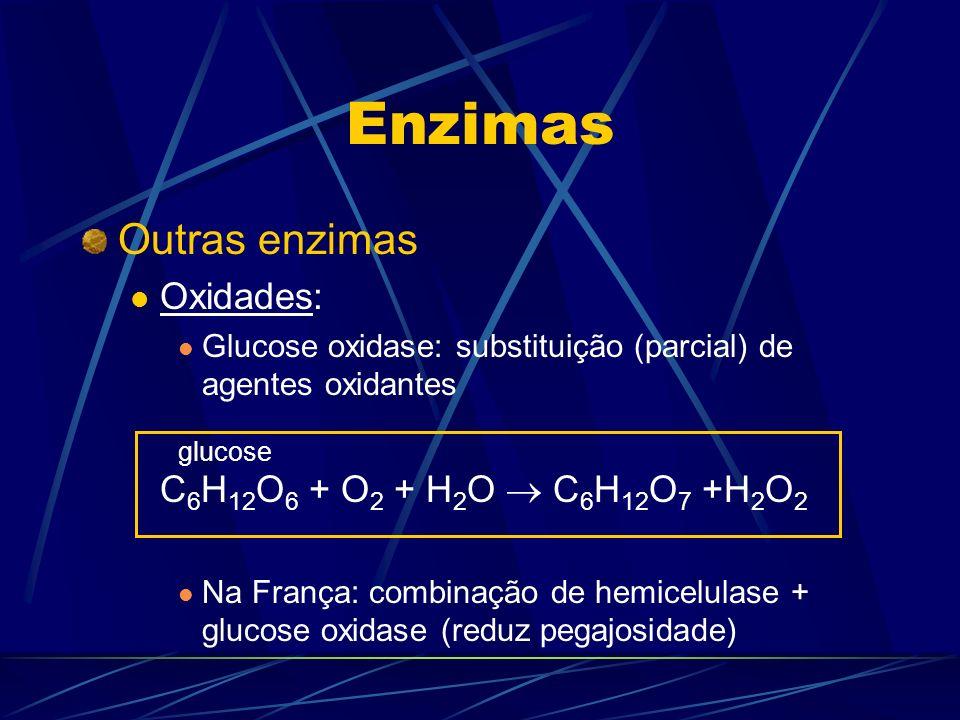 Enzimas Outras enzimas Oxidades: Glucose oxidase: substituição (parcial) de agentes oxidantes C 6 H 12 O 6 + O 2 + H 2 O C 6 H 12 O 7 +H 2 O 2 Na Fran