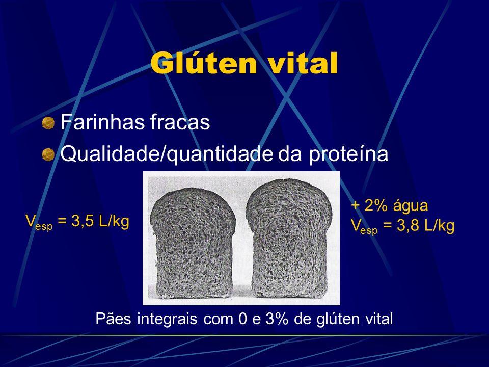 Glúten vital Farinhas fracas Qualidade/quantidade da proteína Pães integrais com 0 e 3% de glúten vital + 2% água V esp = 3,8 L/kg V esp = 3,5 L/kg