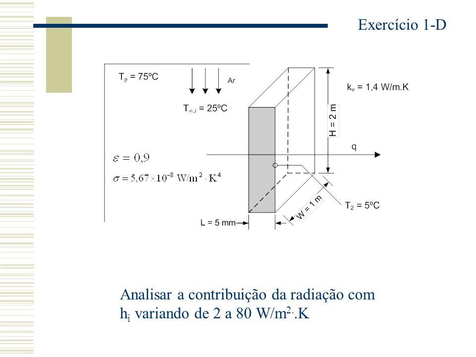 Analisar a contribuição da radiação com h i variando de 2 a 80 W/m 2..K Exercício 1-D