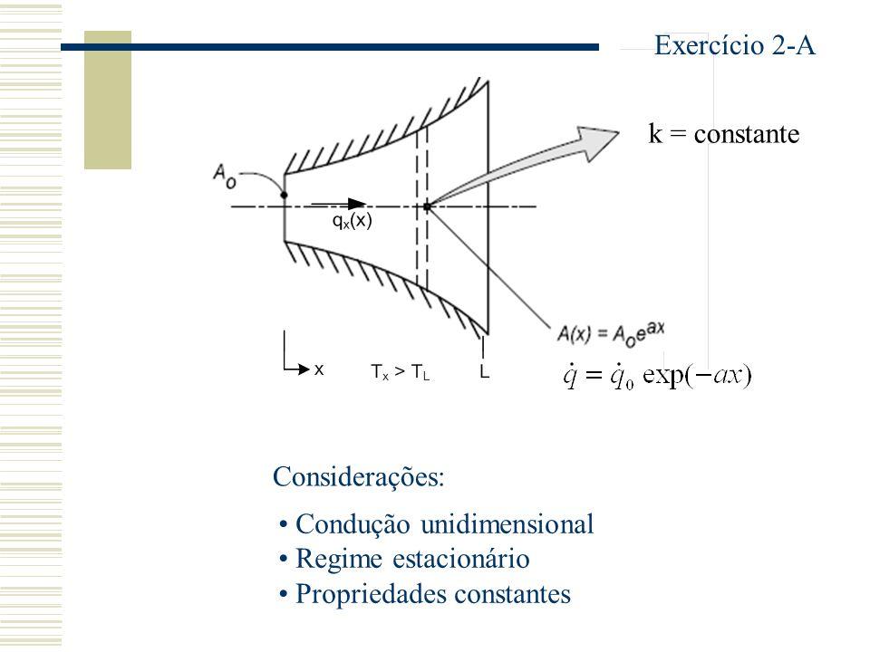 k = constante Exercício 2-A Considerações: Condução unidimensional Regime estacionário Propriedades constantes