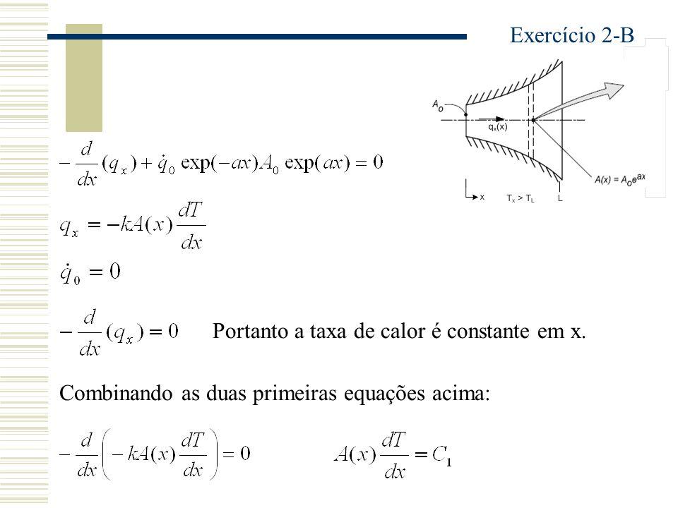 Portanto a taxa de calor é constante em x. Combinando as duas primeiras equações acima: