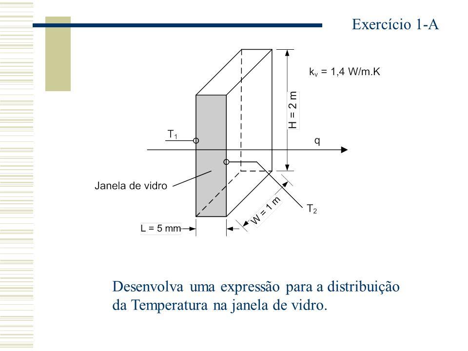 Escreva uma equação para a taxa de condução de calor, q x (x). k = constante Exercício 2-A