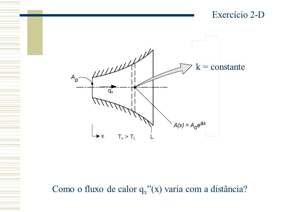 k = constante Como o fluxo de calor q x (x) varia com a distância? Exercício 2-D