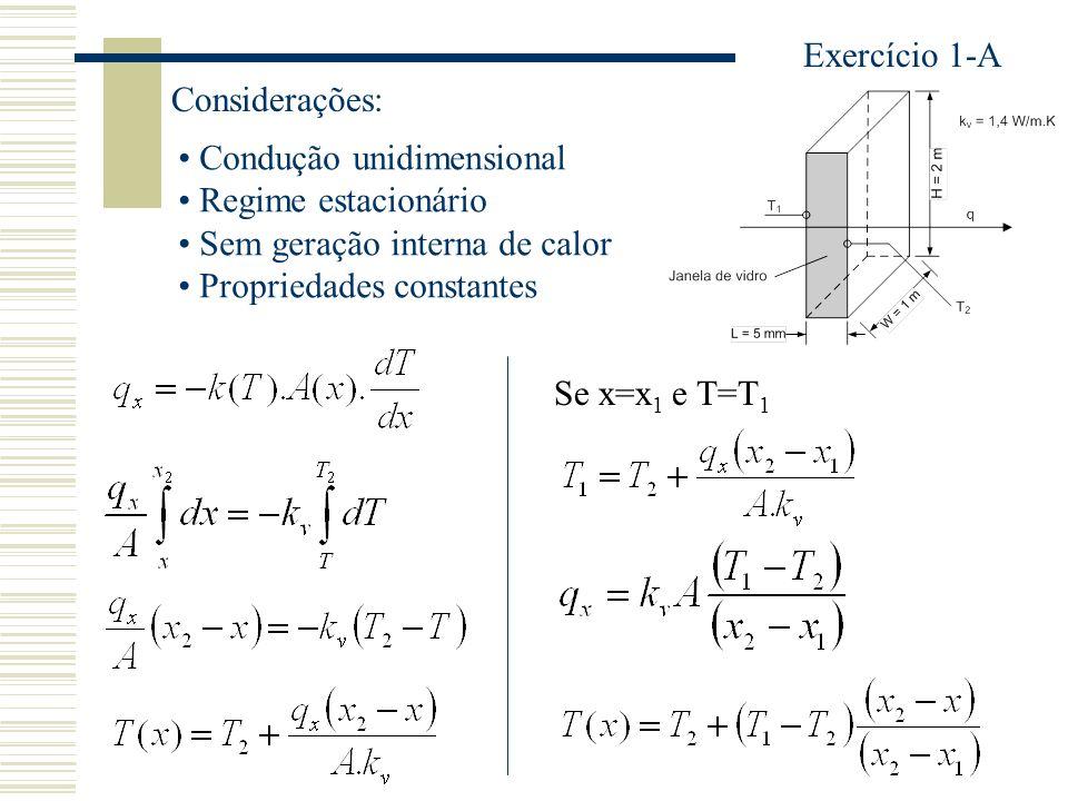 Exercício 1-A Considerações: Condução unidimensional Regime estacionário Sem geração interna de calor Propriedades constantes Se x=x 1 e T=T 1