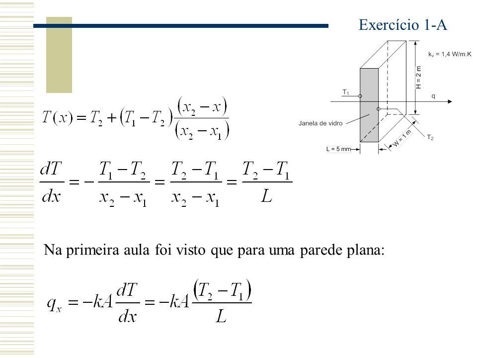 Na primeira aula foi visto que para uma parede plana: Exercício 1-A