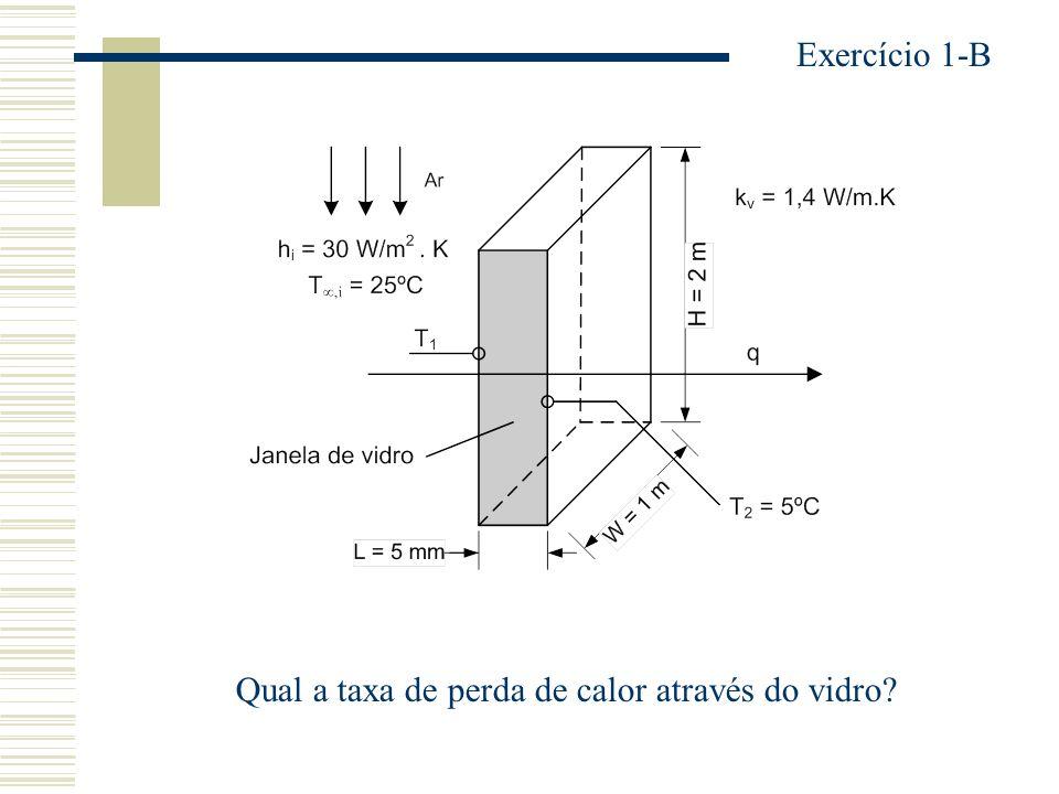 Qual a taxa de perda de calor através do vidro? Exercício 1-B