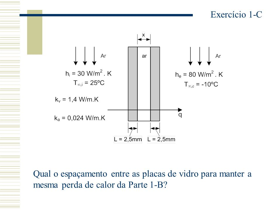 Qual o espaçamento entre as placas de vidro para manter a mesma perda de calor da Parte 1-B? Exercício 1-C