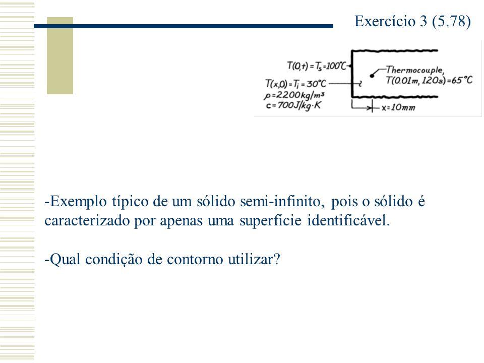 Exercício 3 (5.78) -Exemplo típico de um sólido semi-infinito, pois o sólido é caracterizado por apenas uma superfície identificável. -Qual condição d