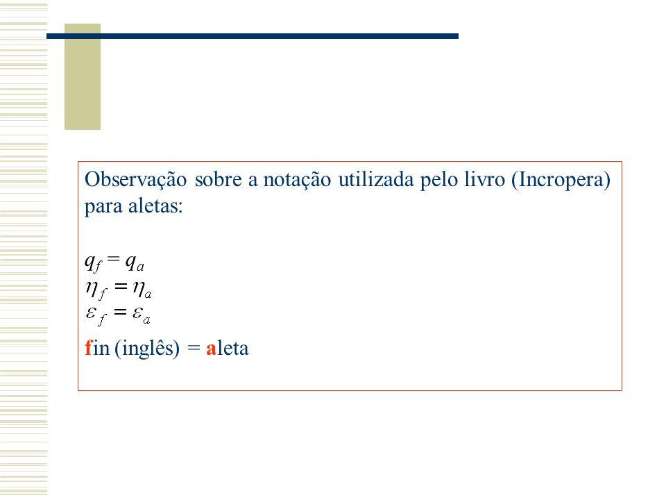 Observação sobre a notação utilizada pelo livro (Incropera) para aletas: q f = q a fin (inglês) = aleta