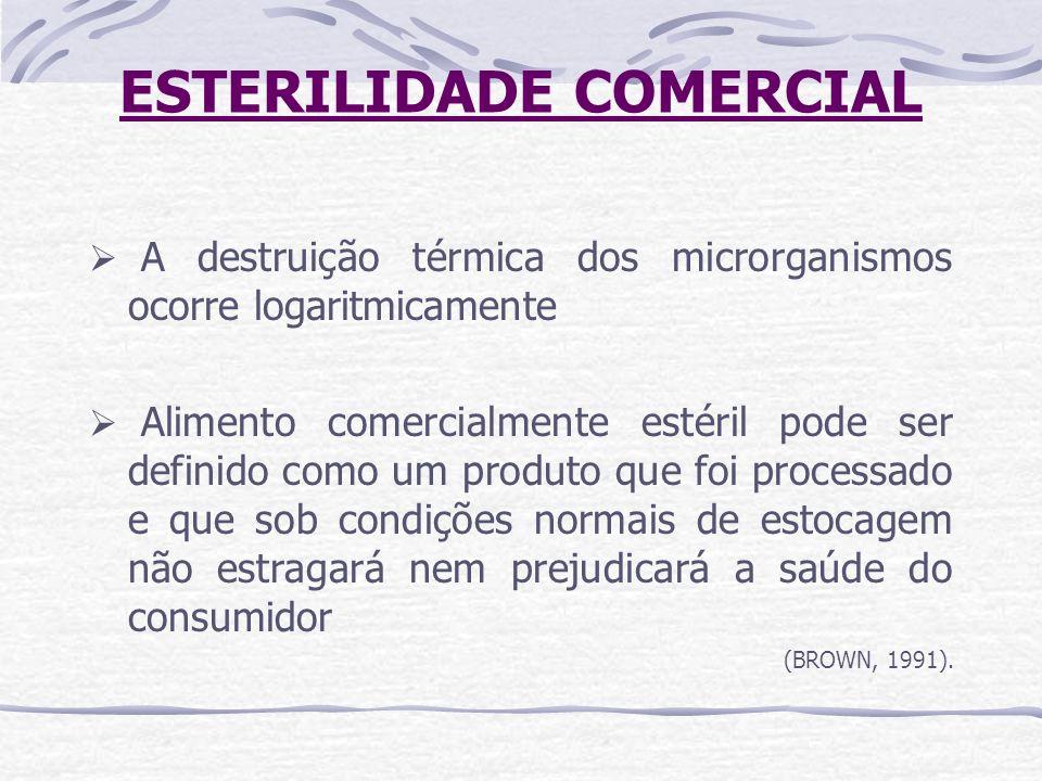 ESTERILIDADE COMERCIAL A destruição térmica dos microrganismos ocorre logaritmicamente Alimento comercialmente estéril pode ser definido como um produ