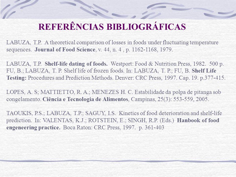 LABUZA, T.P. Shelf-life dating of foods. Westport: Food & Nutrition Press, 1982. 500 p. FU, B.; LABUZA, T. P. Shelf life of frozen foods. In: LABUZA,