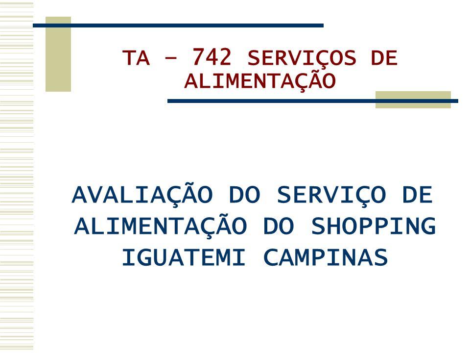 TA – 742 SERVIÇOS DE ALIMENTAÇÃO AVALIAÇÃO DO SERVIÇO DE ALIMENTAÇÃO DO SHOPPING IGUATEMI CAMPINAS