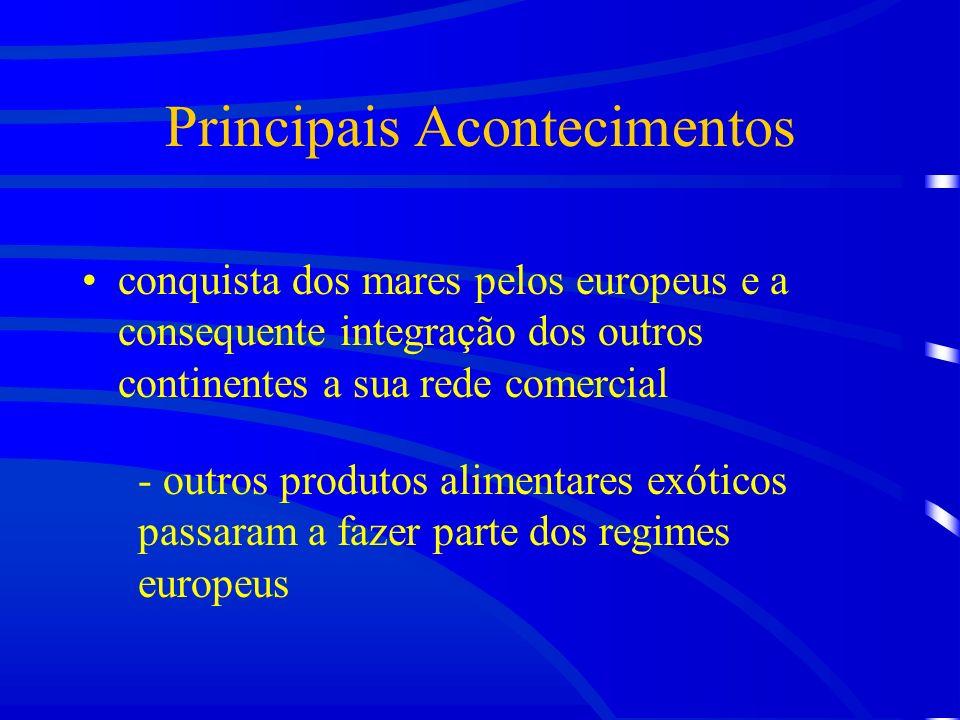 Principais Acontecimentos conquista dos mares pelos europeus e a consequente integração dos outros continentes a sua rede comercial - outros produtos alimentares exóticos passaram a fazer parte dos regimes europeus