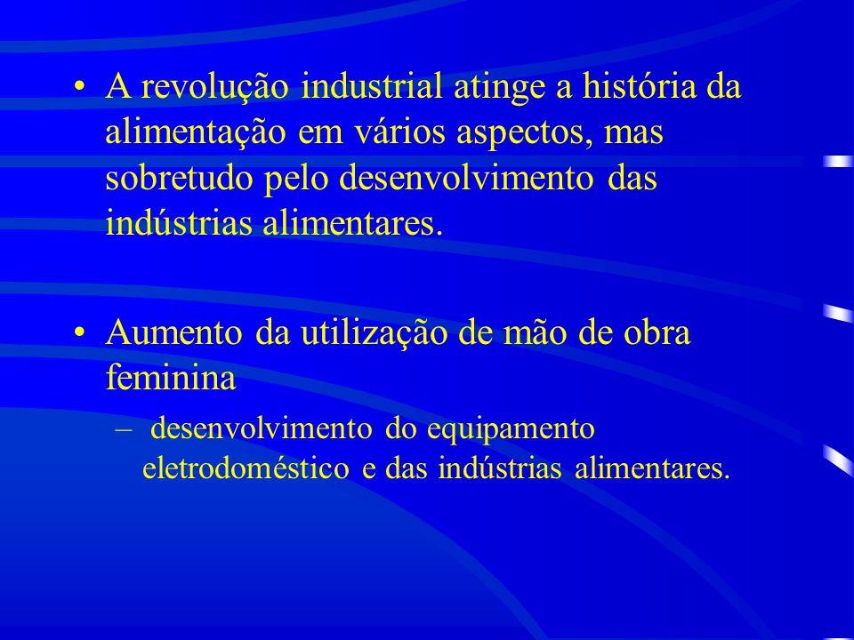 A revolução industrial atinge a história da alimentação em vários aspectos, mas sobretudo pelo desenvolvimento das indústrias alimentares.