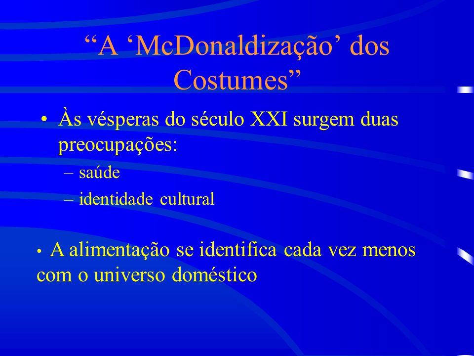 A McDonaldização dos Costumes Às vésperas do século XXI surgem duas preocupações: –saúde –identidade cultural A alimentação se identifica cada vez menos com o universo doméstico
