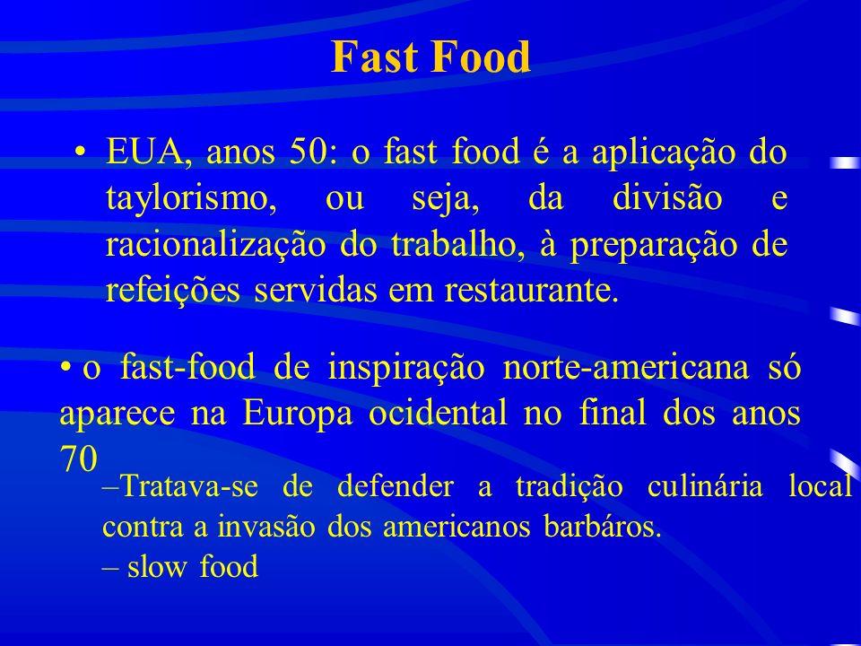 Fast Food EUA, anos 50: o fast food é a aplicação do taylorismo, ou seja, da divisão e racionalização do trabalho, à preparação de refeições servidas em restaurante.
