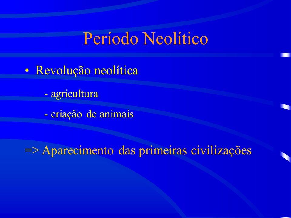 Período Neolítico Revolução neolítica - agricultura - criação de animais => Aparecimento das primeiras civilizações