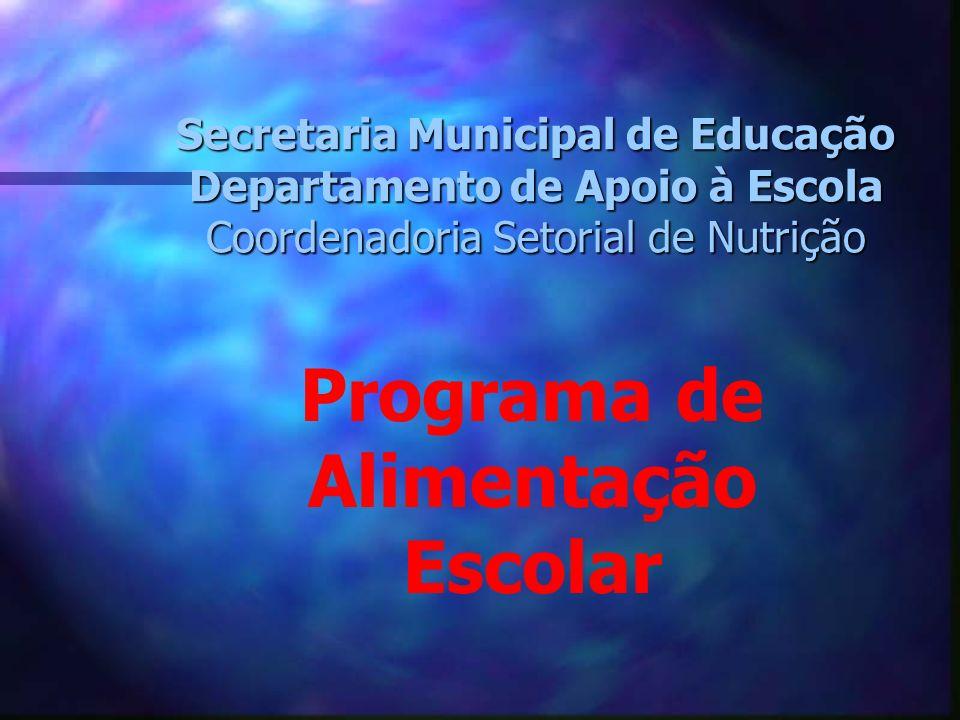 Secretaria Municipal de Educação Departamento de Apoio à Escola Coordenadoria Setorial de Nutrição Programa de Alimentação Escolar
